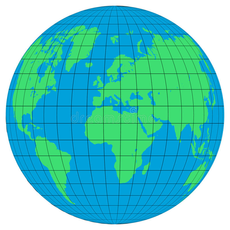 接地与纬度和子午线的地球在白色背景 平的行星地球象 库存例证