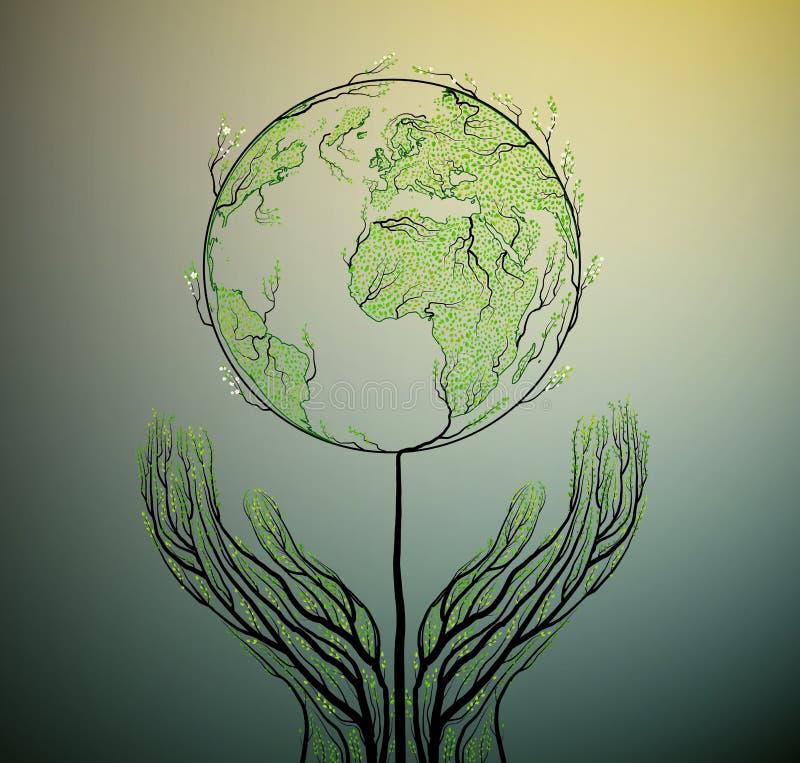 接地从叶子和看起来创造的行星地图生长在土壤的春天树,绿色行星eco概念, 皇族释放例证