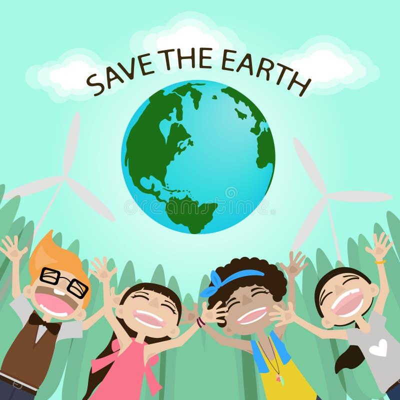 接地保存 变褐环境叶子去去的绿色拥抱本质说明说法口号文本结构树的包括的日地球 拥抱地球 滑稽的漫画人物 也corel凹道例证向量 库存例证