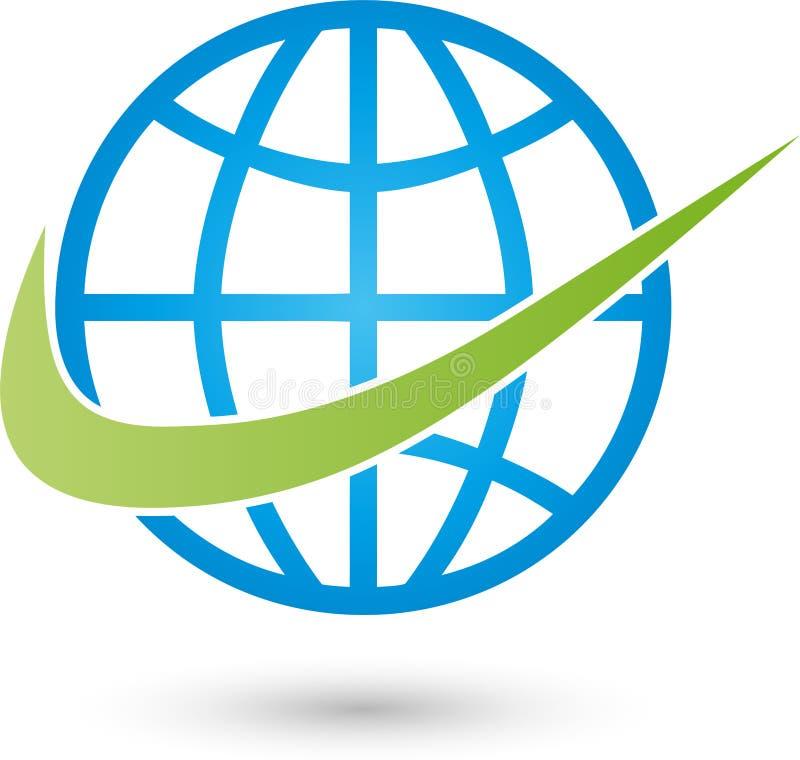 接地地球和箭头、运输和企业商标 库存例证