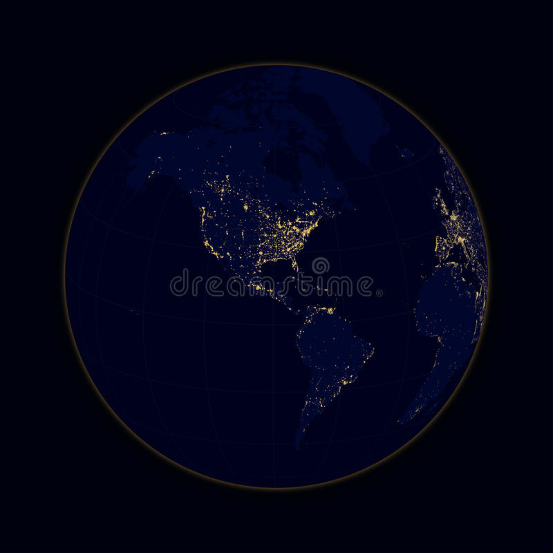 接地城市北部和南美球形光  向量 库存例证