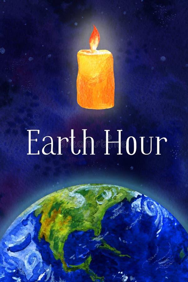 接地小时手拉的水彩例证-半地球和蜡烛在外层空间 皇族释放例证