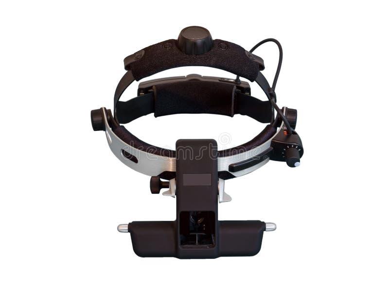 间接检眼计是为眼睛检查的仪器 免版税库存照片
