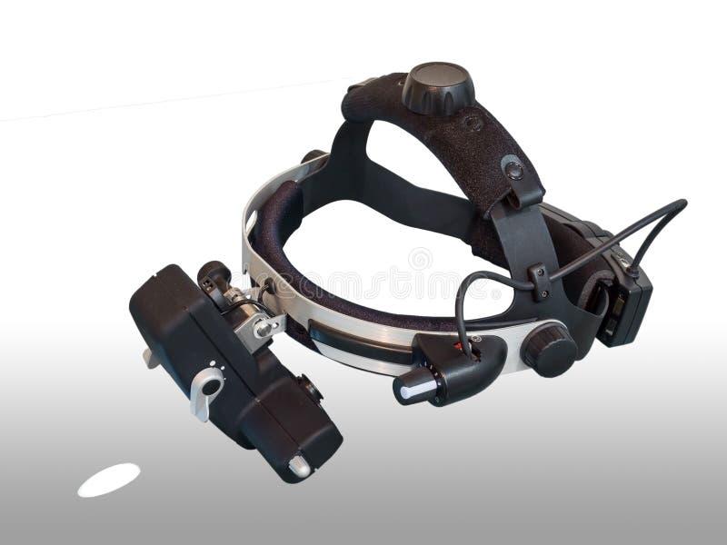 间接检眼计是为眼睛检查的仪器 库存图片
