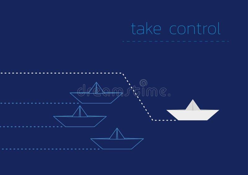 接管与一条被折叠的纸小船的 库存例证