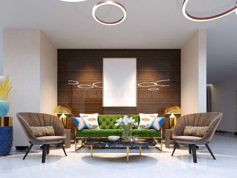 接纳地区和休息室区域与美丽的色的家具、一个沙发有两把扶手椅子的,金属腿和软的室内装饰品 的treadled 皇族释放例证