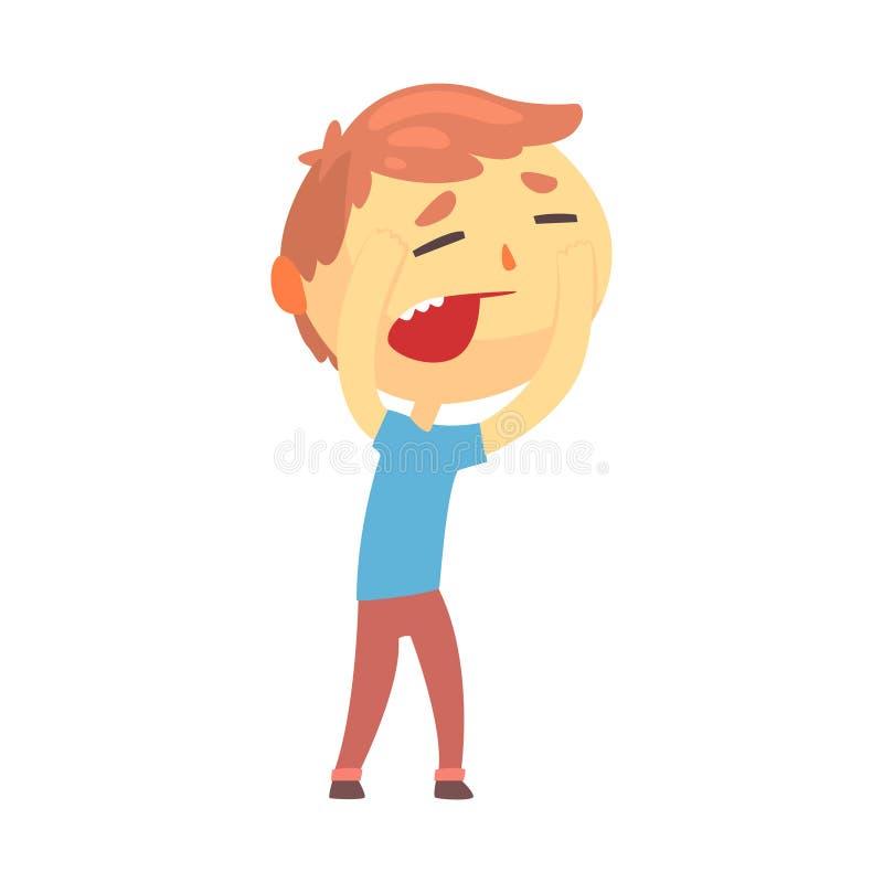 接触他的头的不快乐的男孩字符遭受头疼动画片传染媒介例证 向量例证