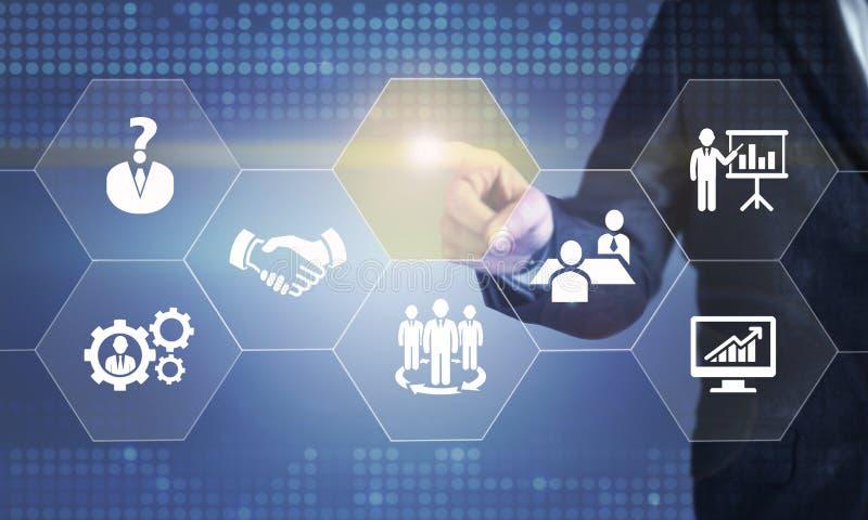 接触关于人力资源的商人屏幕 图库摄影