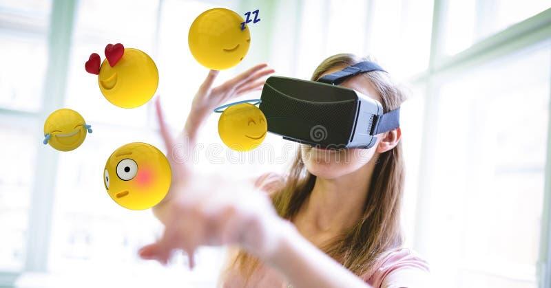 接触各种各样的emojis的VR玻璃的妇女 库存例证