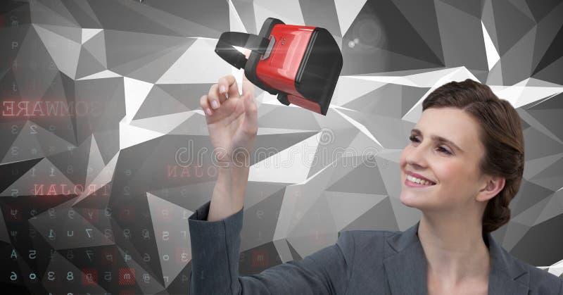 接触和互动与有转折作用的虚拟现实耳机的妇女 免版税图库摄影