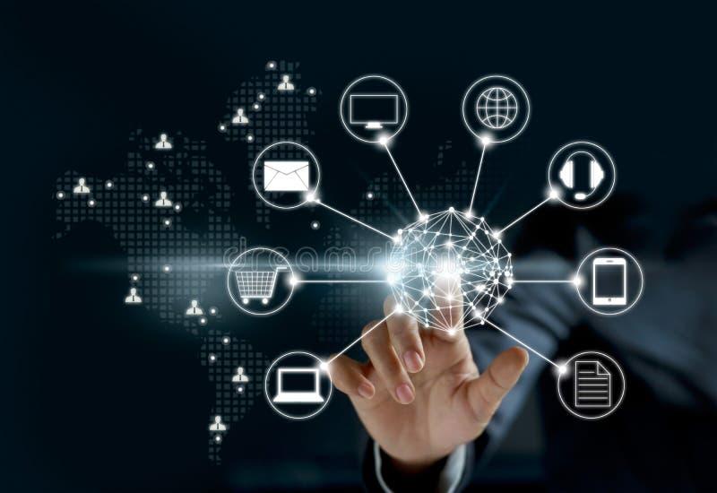 接触圈子全球网络连接, Omni海峡的手 库存照片