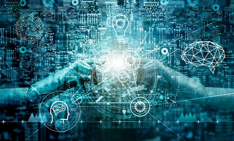 接触在二进制数据的机器人的手 未来派人工智能AI 免版税库存照片