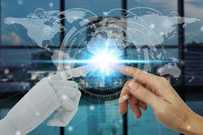 接触在技术和城市背景,人工智能技术概念的机器人和人的手 免版税库存照片