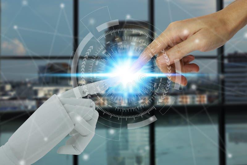 接触在技术和城市背景,人工智能技术概念的机器人和人的手 库存图片