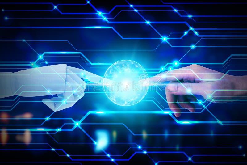 接触在技术背景,人工智能技术概念的机器人和人的手 库存图片