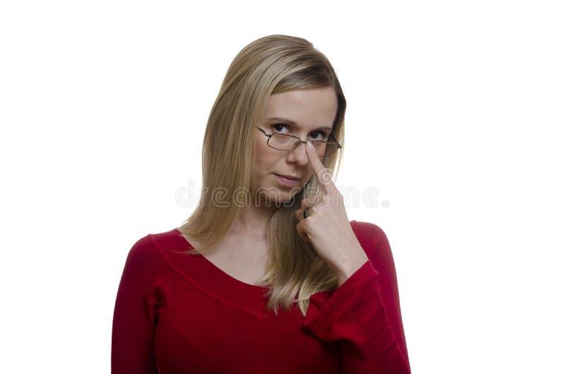 接触她的在白色背景的妇女玻璃 库存照片