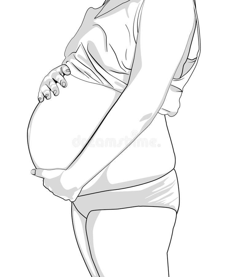接触她的腹部的孕妇隔绝在白色 r r 向量例证