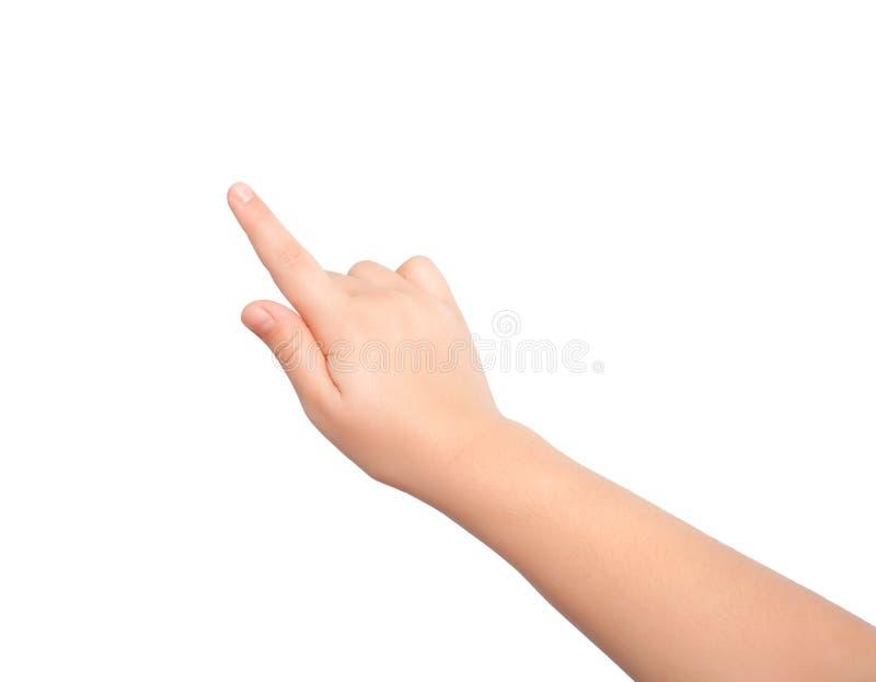 接触或指向某事的被隔绝的儿童手 免版税库存图片