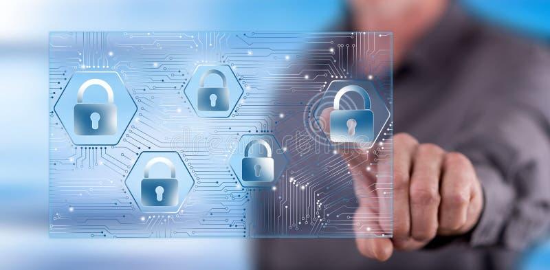 接触数据保密概念的人 库存例证
