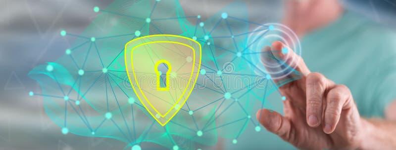 接触数据保密概念的人 免版税图库摄影