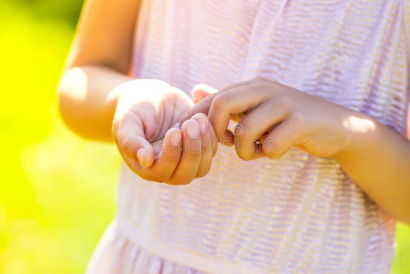 接触毛虫的女孩坐在她的手上 库存图片