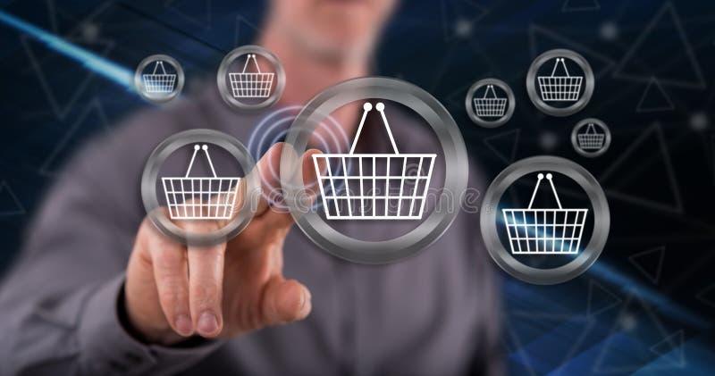 接触电子商务概念的人 免版税图库摄影