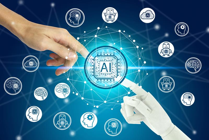 接触虚屏在网络连接的机器人和人的手人工智能技术象,人为 皇族释放例证
