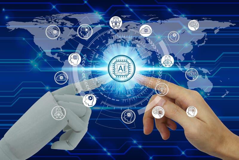 接触虚屏在网络连接的机器人和人的手人工智能技术象,人为 库存图片