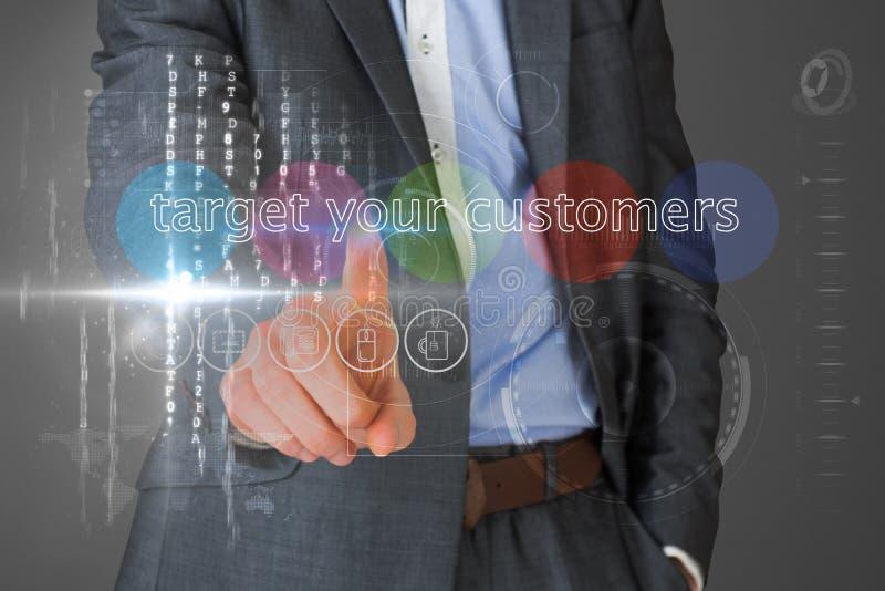 接触词的商人瞄准您的接口的顾客 库存图片