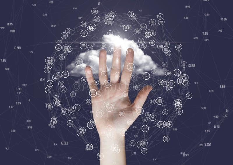 接触连接的模型的手反对云彩 皇族释放例证