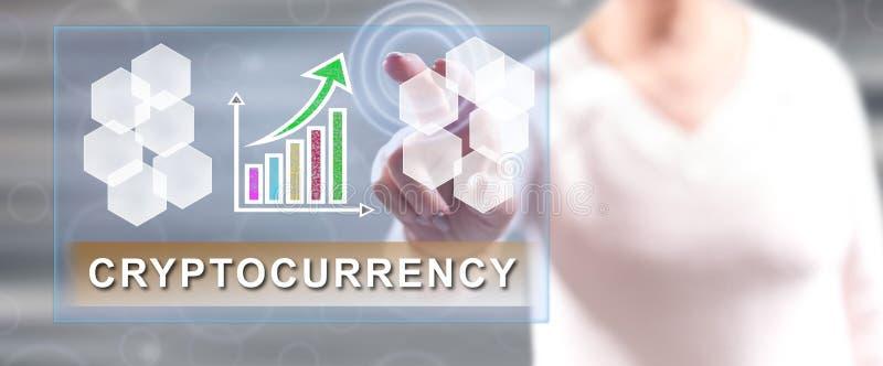 接触cryptocurrency成功概念的妇女 免版税图库摄影