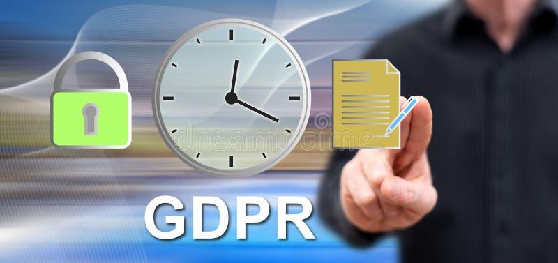 接触gdpr概念的人 免版税库存照片
