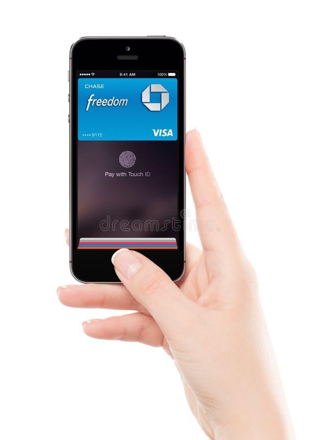 接触id苹果计算机在苹果计算机空间灰色iPhone 5S的薪水技术在f 免版税图库摄影