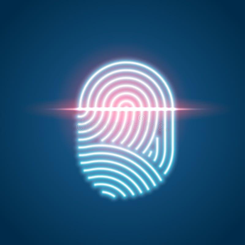 接触ID霓虹象,指纹扫描鉴定系统 向量例证