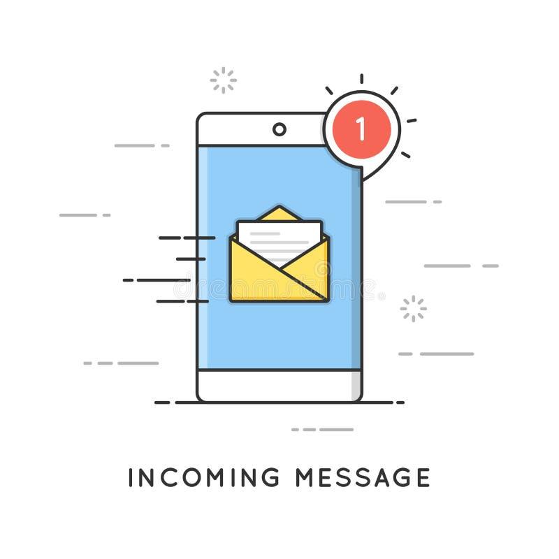 接踵而来的电子邮件通知,新的消息 平的线艺术样式概念 编辑可能的冲程 皇族释放例证