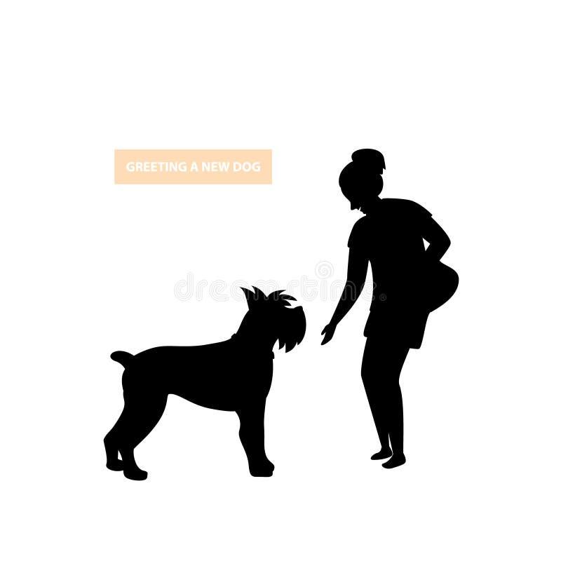 接近一个不熟悉的陌生人狗剪影的人问候 向量例证