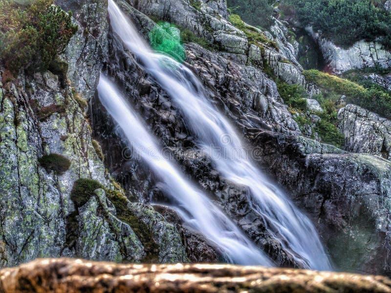接近五个波兰湖谷的Siklawa瀑布 免版税库存图片