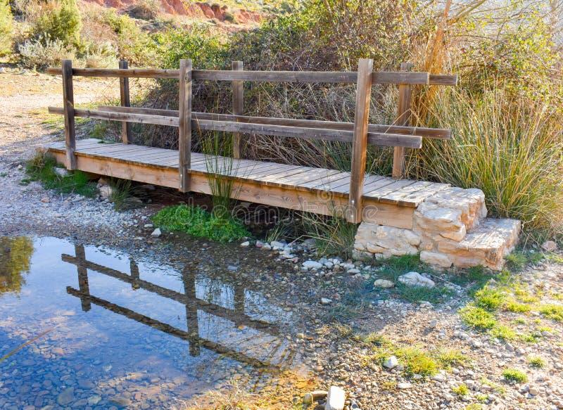 接近在河大量的一个木桥草本和仓促在日出的晴朗的光 桥梁有一木 免版税库存照片