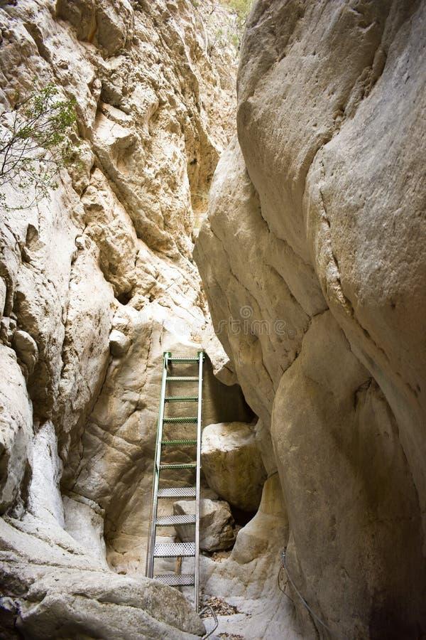 接近攀登山的墙壁的一块垂直的白色石头的梯子的一些绿色步帮助对徒步旅行者的保存 免版税库存照片
