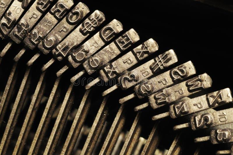 接近的关键字信函老符号打字机 免版税库存图片