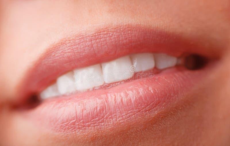 接近的嘴唇上升妇女 免版税库存图片