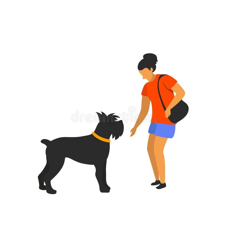 接近的妇女了解不熟悉的狗 向量例证