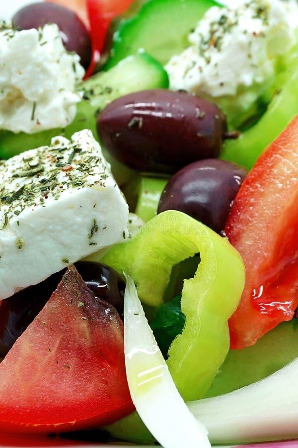接近的希腊沙拉 免版税库存图片