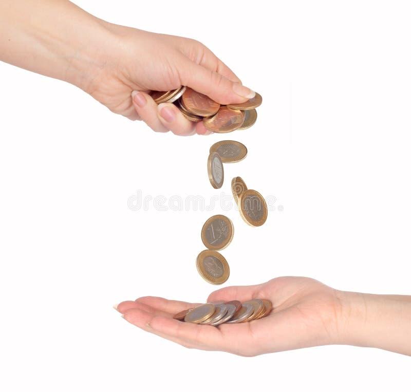 从接近的硬币秋天 免版税库存图片
