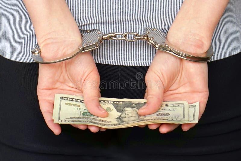 接近的罪犯把现有量扣上手铐被锁定视图 关闭上色百合软的查阅水 免版税库存照片