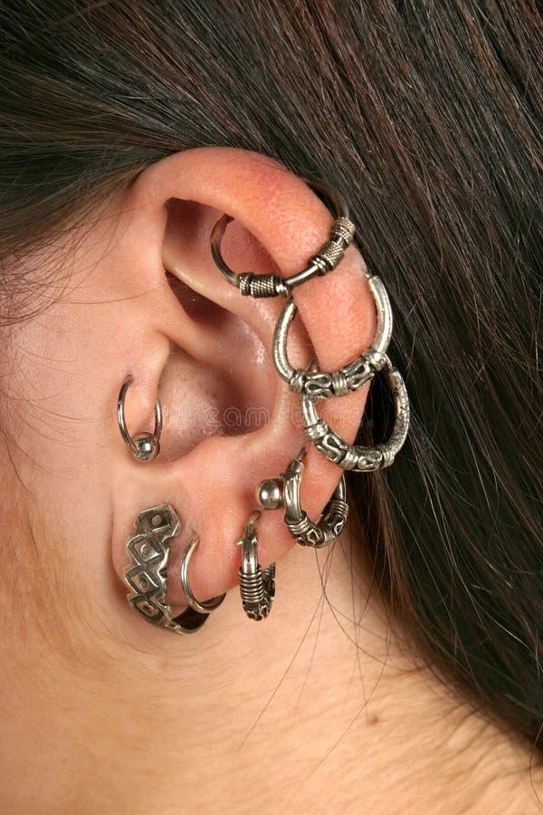 接近的耳环 免版税库存图片