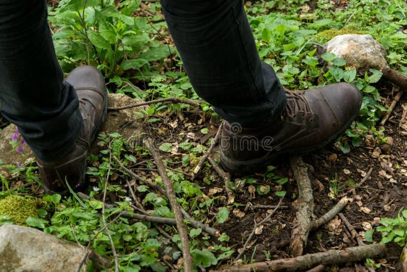 接近的观点的森林道路的人徒步旅行者 探险家,旅行,室外活动,便服 免版税图库摄影
