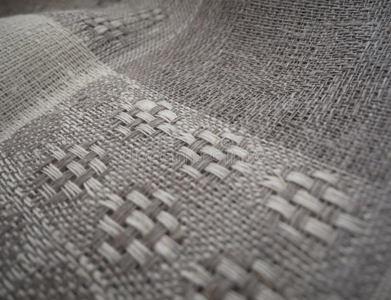 接近的织品亚麻制宏观纹理 库存图片