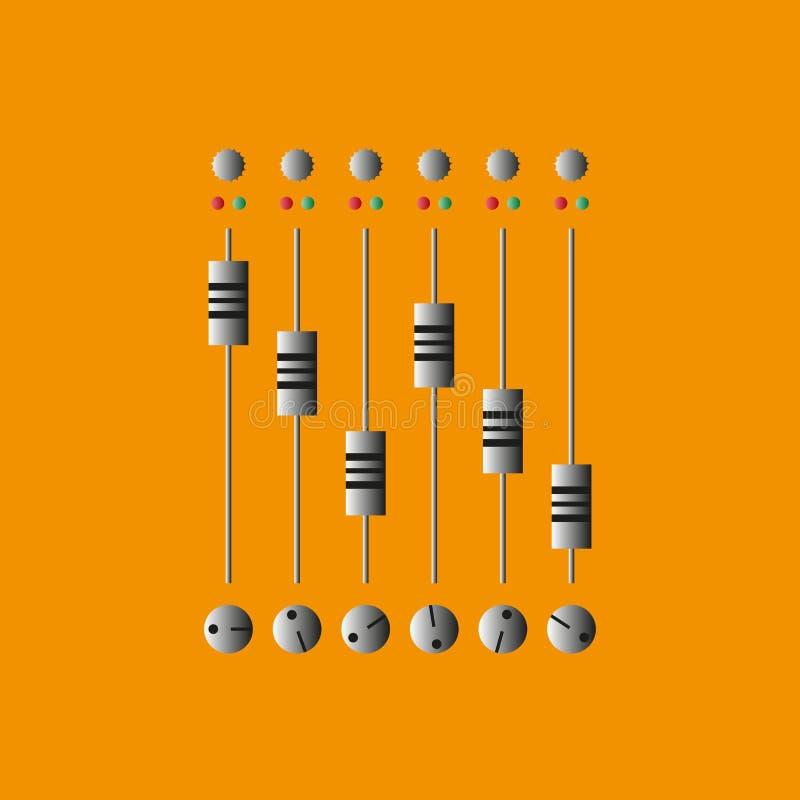 控制台混合的声音 也corel凹道例证向量 纪录和混合音乐 库存例证