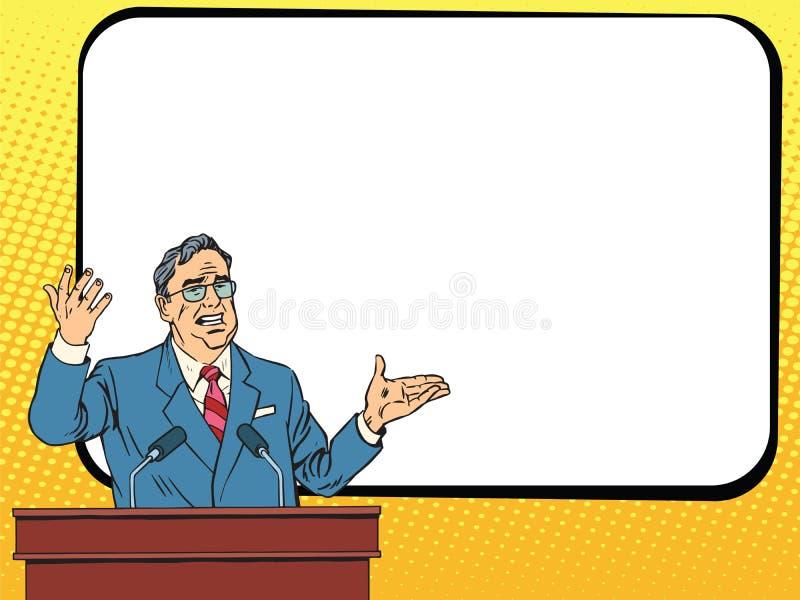控制商人讲话在指挥台、演讲或者介绍 向量例证